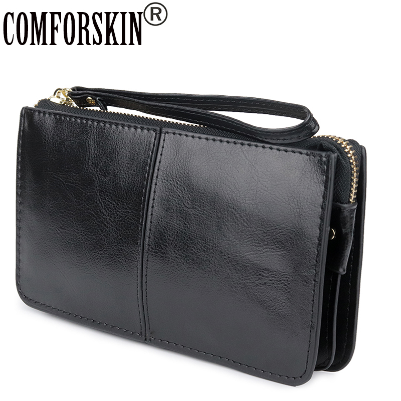 COMFORSKIN Brand Three Compartment Feminine Organizer Wallets European And American Large Capacity Women's Purses With Hand Rope