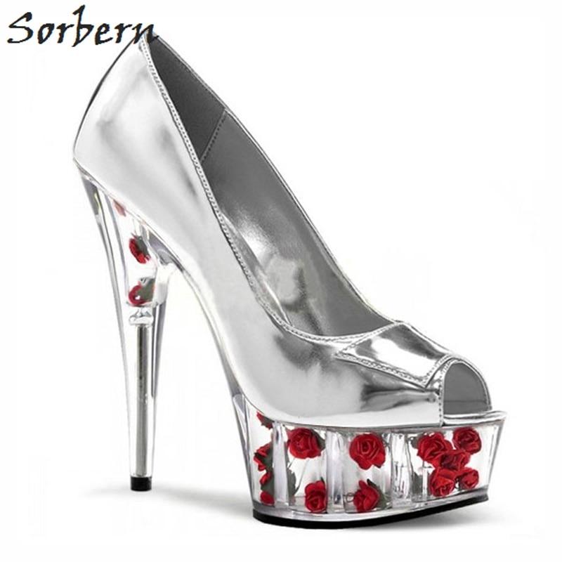 Toe Spike Talons Effacer rose Rose Haute Sorbern Fleur Slip forme Dames Sur Red Chaussures Peep Haut white Brillant Femme Femmes De Talon Argent Plate Pompes wwOYX8q