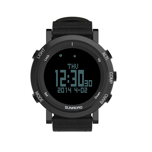 Sunroad nueva llegada al aire libre reloj deportivo mujeres y hombres fr851 altímetro barómetro brújula podómetro reloj con correa de nylon