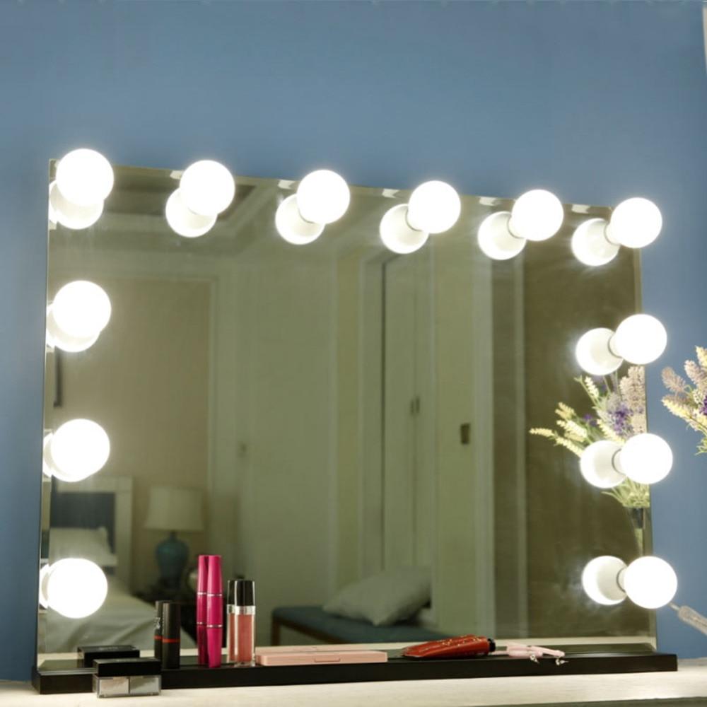 10 Bulbs Makeup Mirror With Led Light Vanity Mirror USB Charging Port Cosmetic Bulb Adjustable Make up Mirrors Brightness lights 2