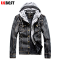 LKBEST 2017 New jeans trench coat men winter denim mens winter jackets and coats hooded mens outwear brand clothing (FY05)