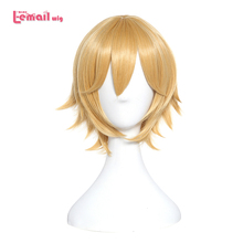L-email wig AUTO jin Cosplay Wigs 30cm/11.81inch Short Blonde Heat Resistant Synthetic Hair Perucas Cosplay Wig