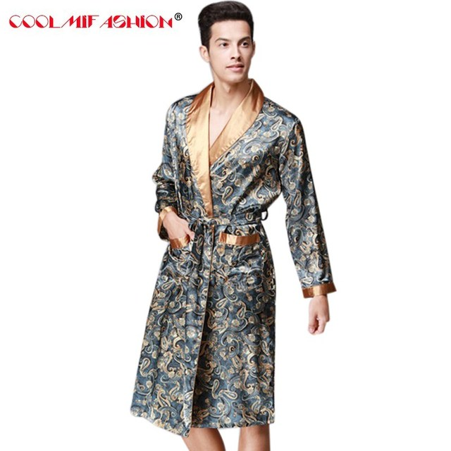 f2c6142240 Sexy Men Bathing Robe Dressing Gown Men s Robes Sleep Lounge Faux Silk Long  Sleeved Luxury Home Clothing Men Home Bathrobe male
