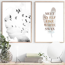 Abstract Girl Sea view Bird Feather Quote Wall Art Canvas Painting Nordic Posters And Prints Pictures For Living Room Decor