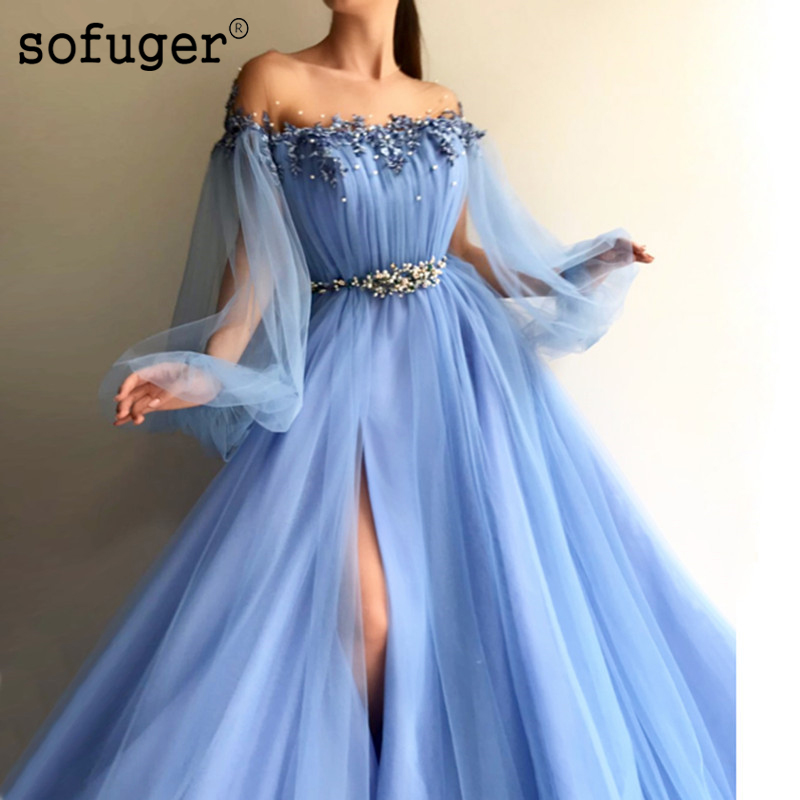Blue Muslim Evening Dresses 2019 A-line Long Sleeves Tulle Slit Pearls Islamic Dubai Saudi Arabic Long Formal Evening Gown Prom(China)