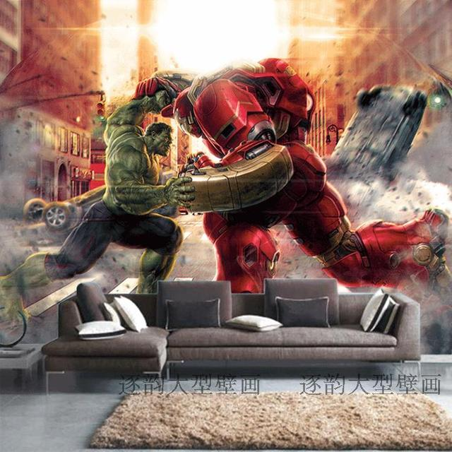 Free Shipping Custom Hulk Large Mural Iron Man Wallpaper 3D Stereo Living Room Bedroom Sofa