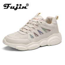 Fujin Mesh Muffin Bottom Causal Women Sneakers Dropshipping Lace Round Toe Sneaker Fashion Thick Breathable Flats