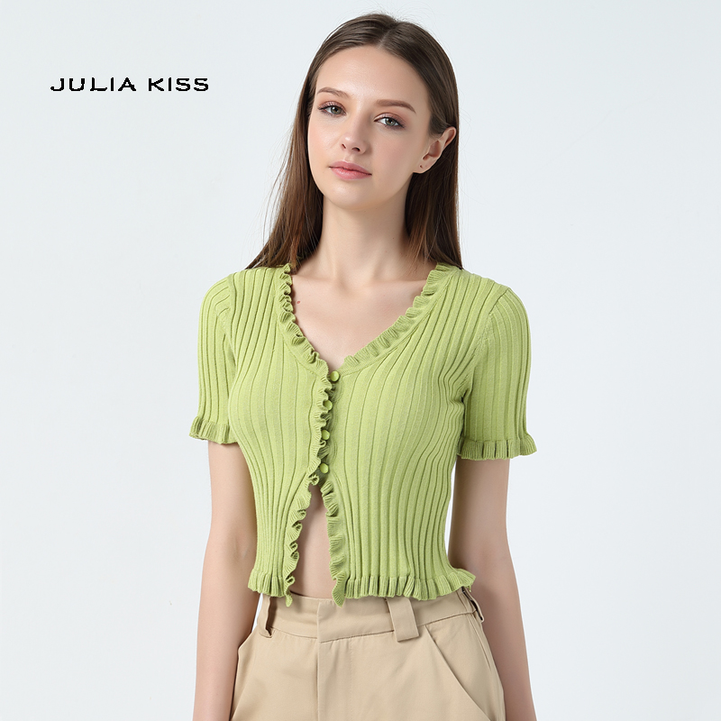 Women Ruffle Trim Crop Knit Cardigan with Short Sleeve Deep V Neck Crop Knit Tops