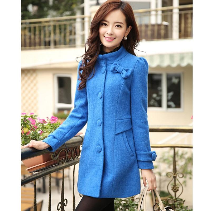 UHYTGF Fashion Slim Women Wool Jacket New Winter Outerwear Women Standing collar Single-breasted Bow Houndstooth Woolen Coat 903