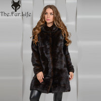 90CM Detachable Real Mink Fur Coat Women With Hood Winter Thick Warm Natural Fur Outwear Genuine Leather Real Fur Coat Female