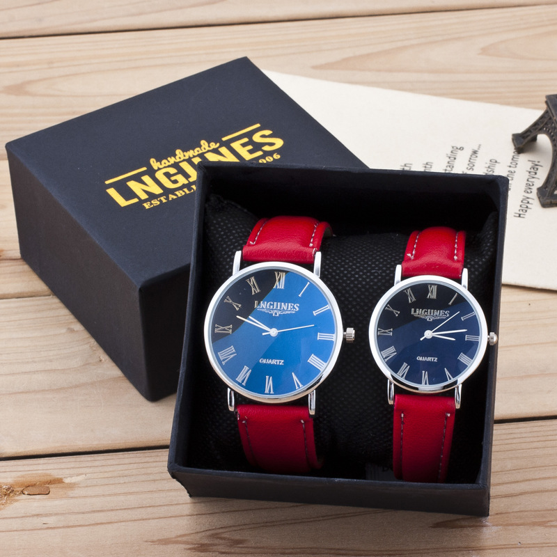 Couple Watches Pair Men And Women Gloss Glass Leather Fashion Lovers Wristwatch Red Luxury Watch Set For Valentine's Day Gift