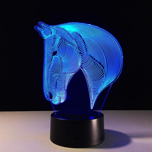 Horse Head 3D Illusion Lamp LED Night Light 3D Acrylic LED Night Light 3D Lamp Table Lamps Atmosphere Desk Light Bedside Lamp