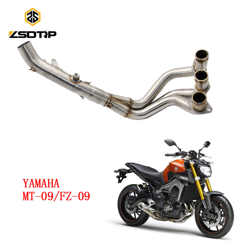 ZSDTRP Moto Modifiy tubo di scarico per yamaha FZ-09/MT-09 di motore da corsa modello di materiale In acciaio inoxZSDTRP Moto Modifiy tubo di scarico per yamaha FZ-09/MT-09 di motore da corsa modello di materiale In acciaio inox