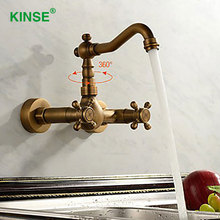 KINSE Античная Европейский Дизайн Настенный Кухонный Кран Двойной Держатель Отверстие Раковины Смесители Краны Кран