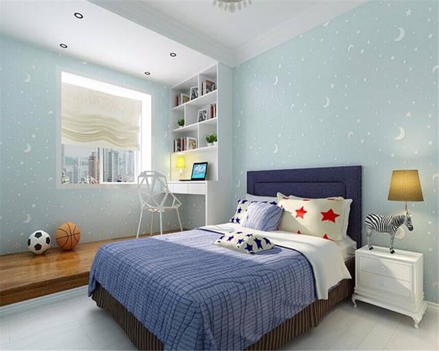 Beibehang 3d tapete vlies kinderzimmer leucht mond und die sterne kleine  jungen mädchen schlafzimmer tapete für wände 3 d