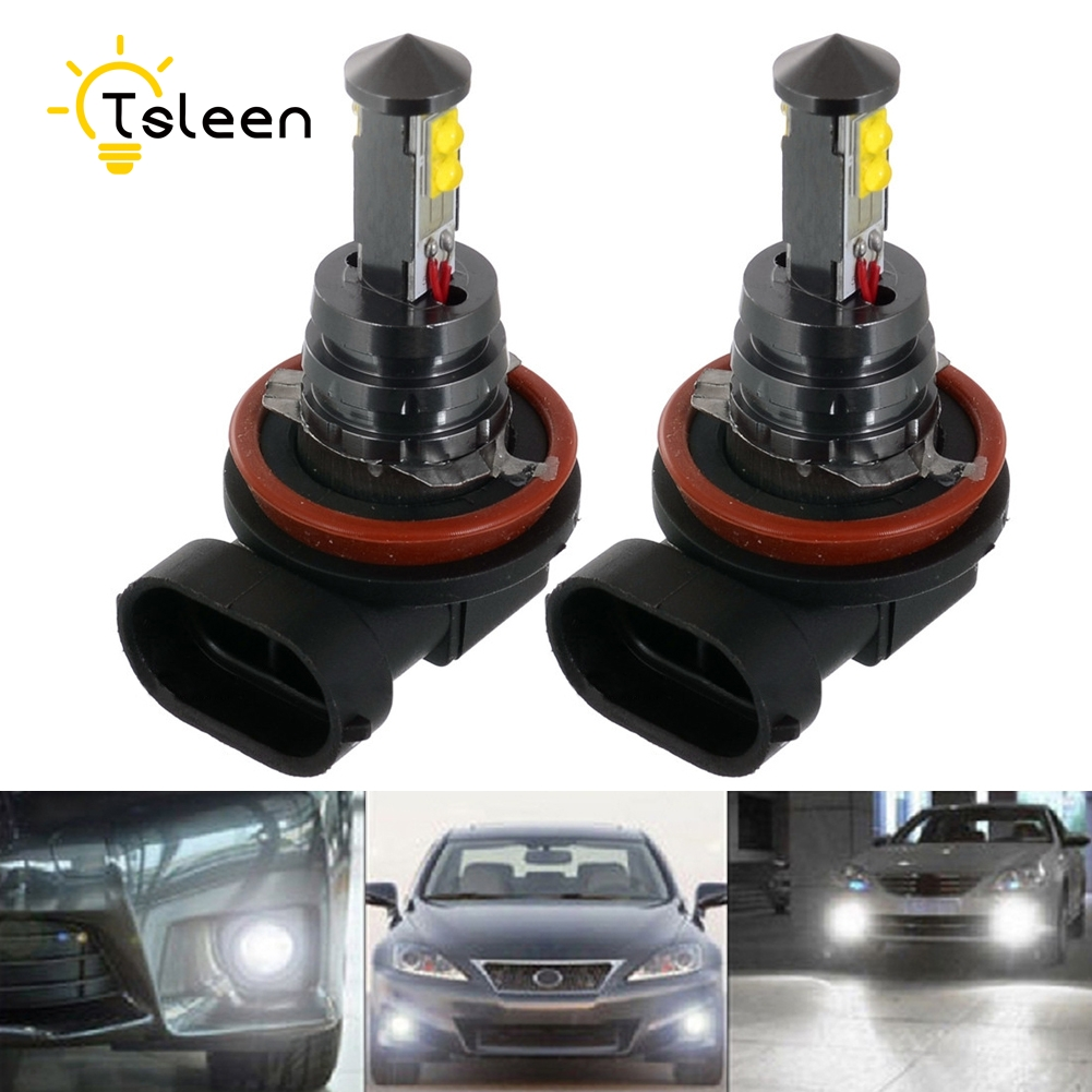 TSLEEN 2/4/8Pcs H8 H11 6000K Super Bright White Car Light Halogen Lamp Bulb Car Style Headlight Fog Lights 720LM DRL Xenon Lamps