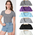 2015 Lady new tight navel-baring cropped t-shirts stripe tunic womens colored short tees girls slim cotton tops free shipping