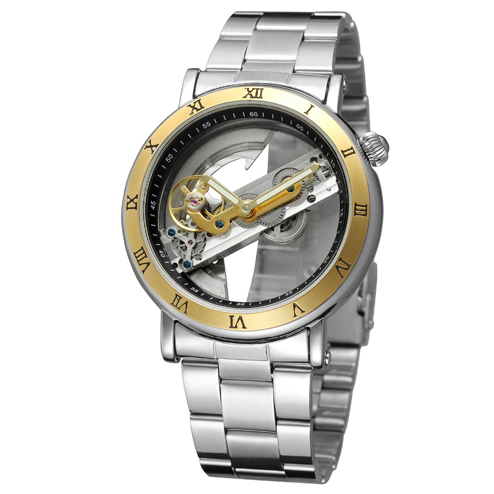 Relojes mecánicos automáticos huecos dorados FORSINING para hombre reloj de acero Vintage de marca de lujo reloj de esqueleto reloj masculino hodinky