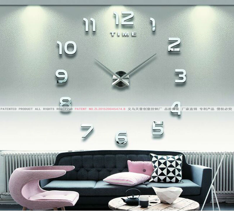New Fashion Home Decor Big Mirror 3D DIY Wall Clock Modern Design,large  Decorative Designer ...