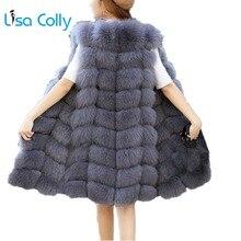 Lisa Colly, жилет из искусственного меха, пальто для женщин, Зимняя мода, искусственный мех, жилет, пальто, длинный меховой жилет, женский жилет из искусственного лисьего меха