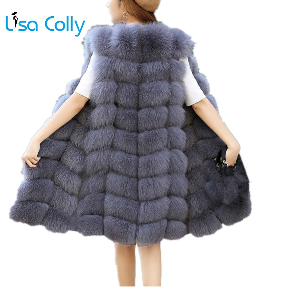 Lisa Colly Faux Fur Vest Coat Women Winter Fashion Artifical Fur Vest Coat Long Fur Vest Waistcoat Female Faux Fox Fur Vest
