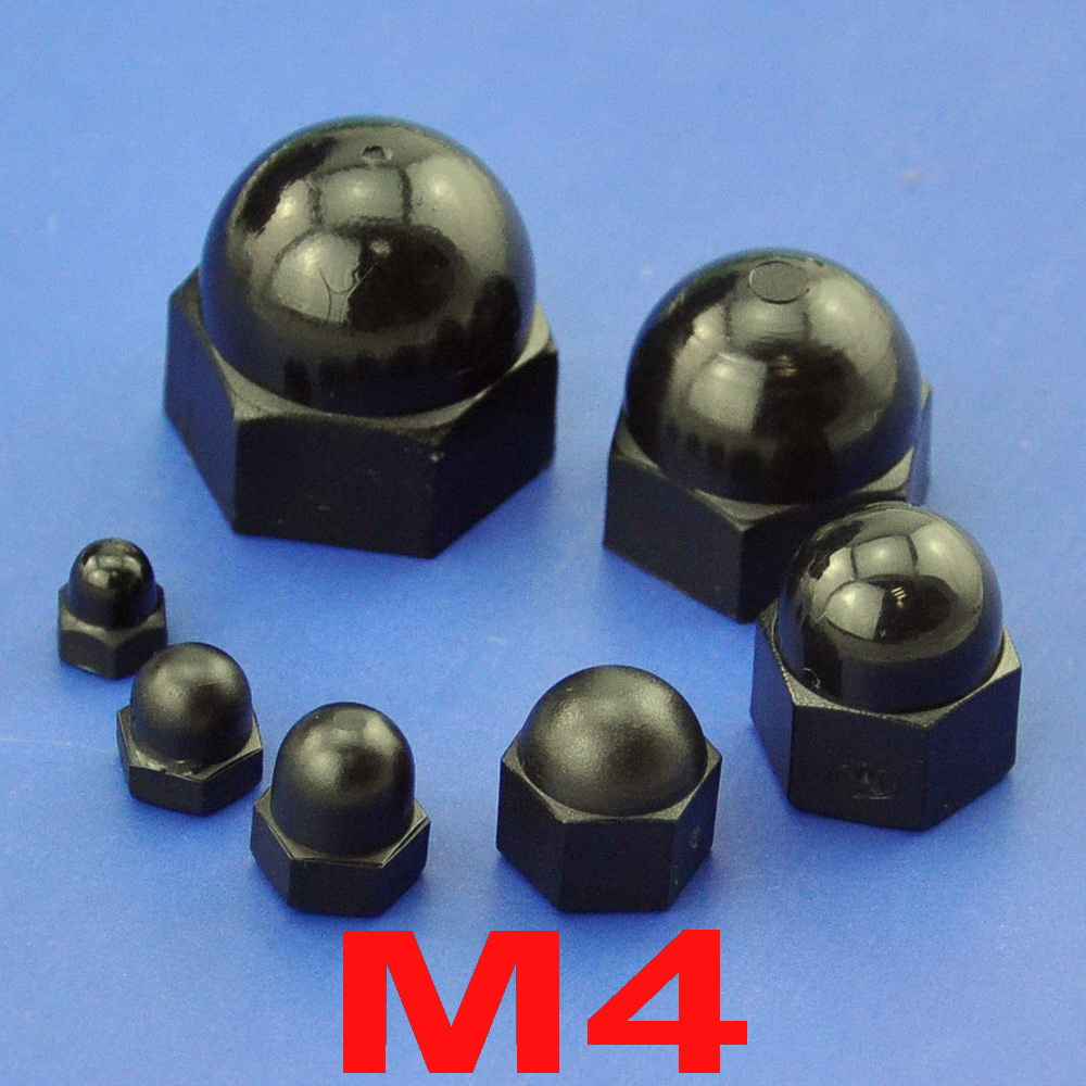( 100 pcs/lot ) Metric M4 Black Nylon Acorn Hex Cap Nut ...