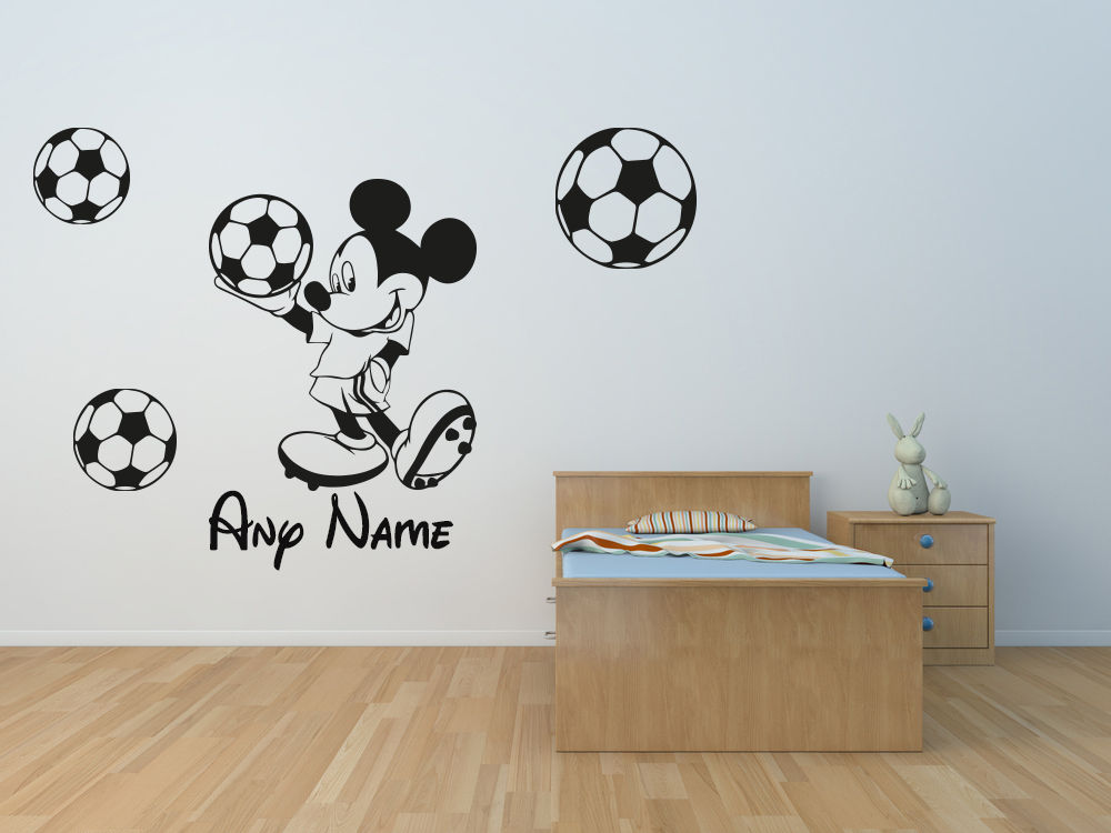 mickey mouse football name childrens kids vinyl wall art stickers decals free shippingchina