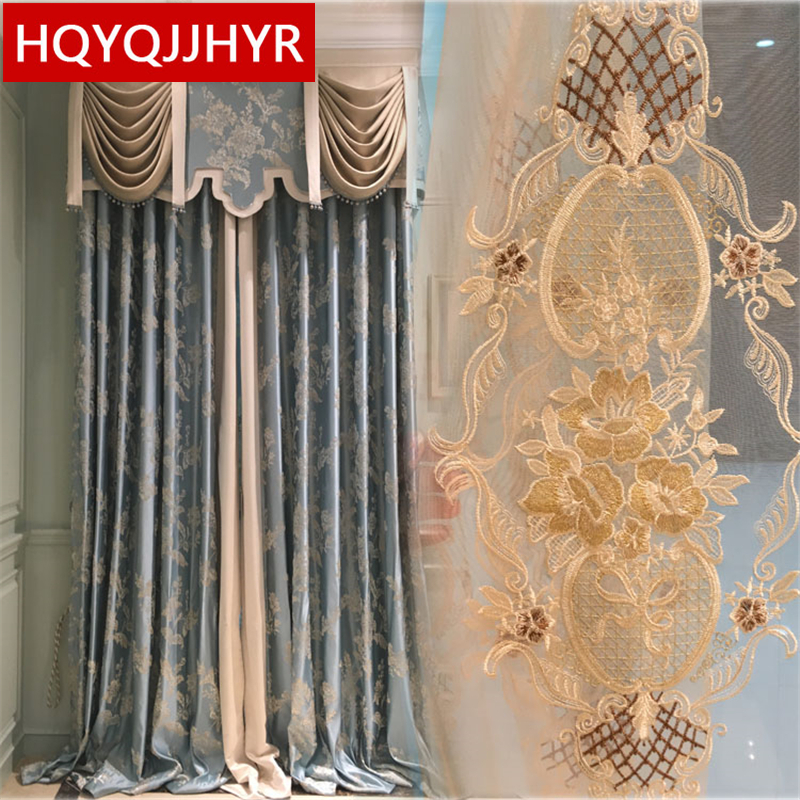 European Luxury High-end Custom Jacquard Blackout Curtains For Living Room Windows Classic High Quality Curtains For Bedroom