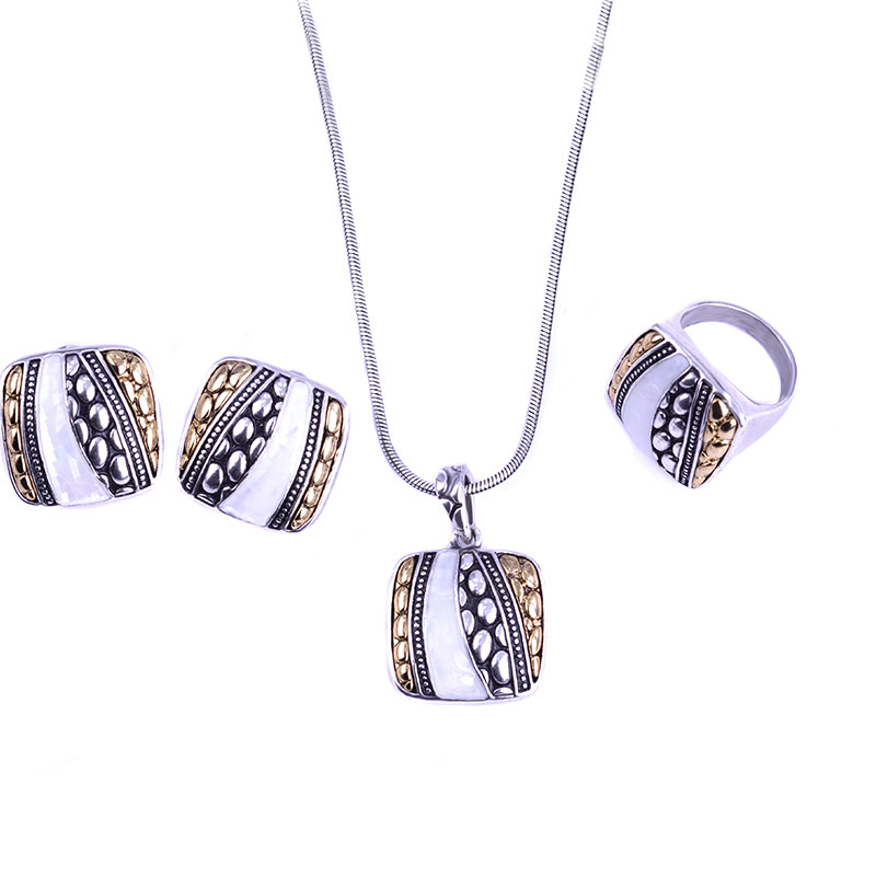 Blucome White Black Shell Jewelry Sets French Hooks Stud Earrings Square Necklace Earring Ring Set Colar
