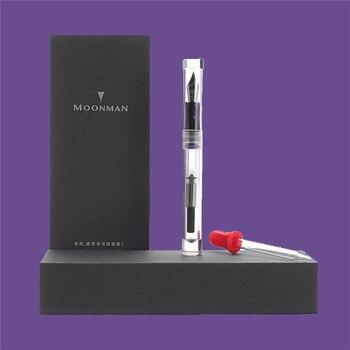 Moonman C1 прозрачная перьевая ручка, Полностью прозрачная чернильная ручка большой емкости для хранения радужных тонкостей 0,6 мм перьевая пода...