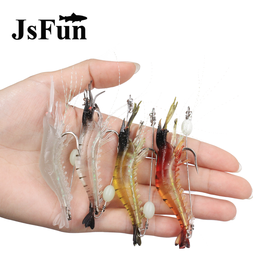 JSFUN 10PCS Silicone Shrimp Lure Lifelike Prawn 8.5cm 6g Soft Artificial Bait With Hook Night Fishing Lure Fishing Tackle fu2001 lifelike shrimp style soft pvc fishing baits w hook yellow size l 3 pack
