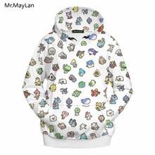 3D Print Cartoon Pokemon Jackets Men/Women Hiphop Streetwear Outwear Hipster Pullovers Hood Sweatshirts Boys White Coat Clothes