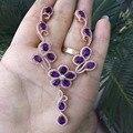 Derongems_Fine Jewelry_Elegant Amatista Plata Amethyst Natural de La Flor Mujer Necklaces_S925 Necklaces_Manufacturer Venta Directamente