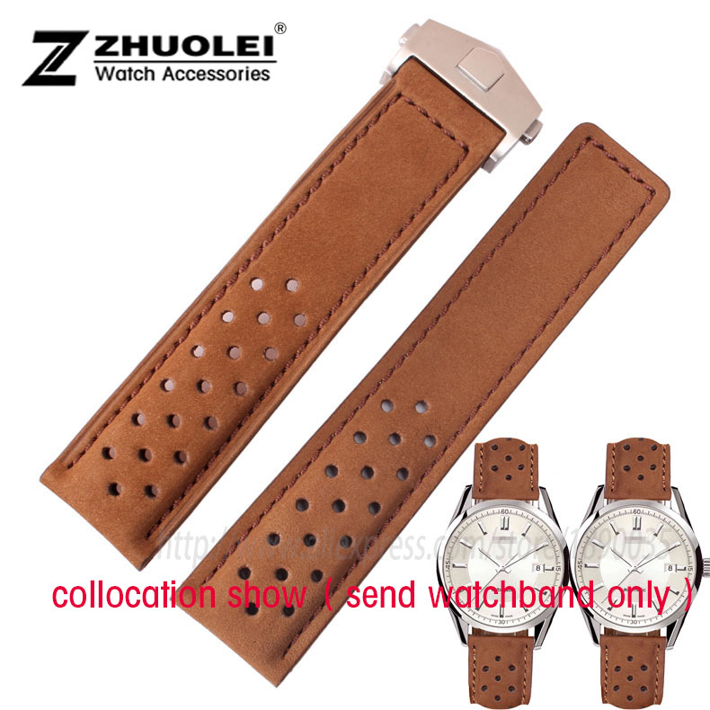 Jisoncase Brown Color Genuine Leather Strap Wristband With Free