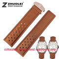 22mm New Mens Top grade Brown Genuine Relógio de Couro Banda Strap Pulseiras Preto pulseira de Relógio implantação buckle Para heuer