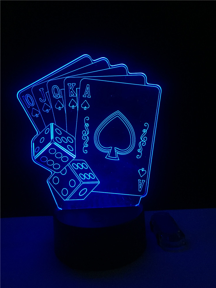 Creative 3D LED USB Lamp Magician Decoration TEXAS HOLD EM Dice Poker Spades Playing Card 7 Colors Changing RC Night Light Xmas new baccarat texas hold em plastic playing cards waterproof frosting poker card pokerstar board game 2 48 3 46 inch k8356
