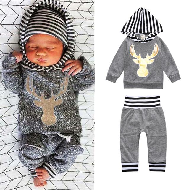 4c6ac9006 2Pcs Toddler Kids Clothes Infant Baby Boy Girl Long Sleeve Deer ...