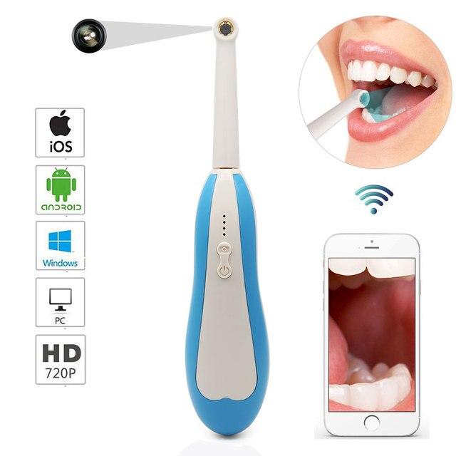 واي فاي اللاسلكية الأسنان كاميرا HD داخل الفم المنظار مصباح ليد كابل يو اس بي التفتيش ل طبيب الأسنان عن طريق الفم في الوقت الحقيقي فيديو أدوات طبيب الأسنان