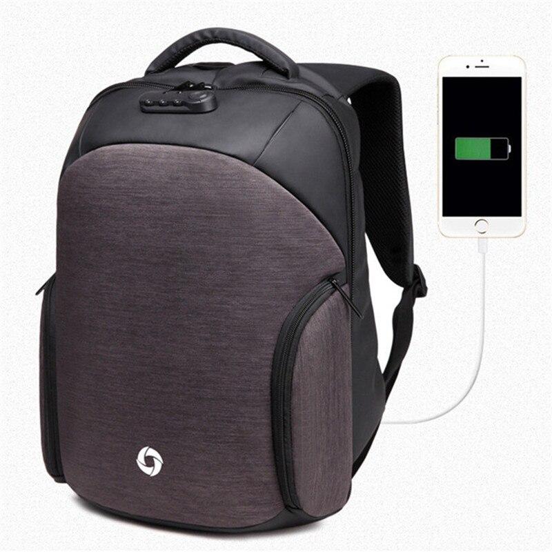 Для мужчин Рюкзаки USB зарядка компьютер рюкзак паролем 15.6 дюймовый ноутбук Сумки Повседневное три-ди Для мужчин мерных анти- кражи Рюкзак