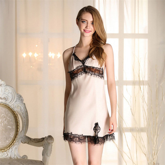 55c2327bcee24 5 Colors Summer Sleeveless Princess Nightgowns Lady Silk Sexy Lace Short Dress  Women Nightwear Sling Sexy Sweet Mini Dresses