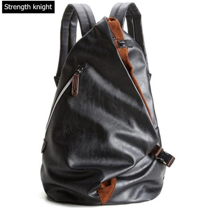 Moški Moški Luksuzni PU usnje nahrbtnik prosti čas Vintage Backpack Moški šolske torbe Črna nahrbtnik mochila masculina