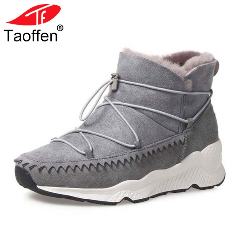 TAOFFEN Size 34-42 Warm Winter Shoes Women Real Leather Warm Fur Ankle Snow Boots Women Cross Strap Thick Platform Winter Botas kemekiss women warm plush warm snow boots for women thick platform ankle botas female thick fur winter footwear size 36 40