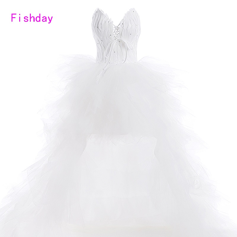 Fishday Feather White Vintage Bridal Bröllopsklänningar 2018Vestido de Noiva Renda Robe de Mariage Alibaba Made In China B20