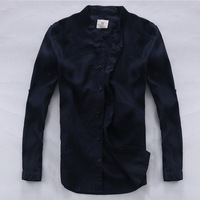 Italy Brand Suhaiwe S Navy Blue Men Shirt Linen 100 Flax Summer Double Layer Placket Casual