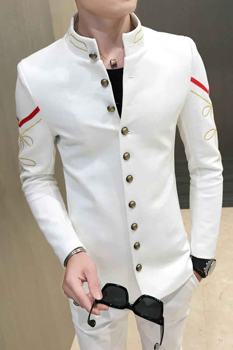 4 farbe Gold Taste Chinesischen Kragen Anzug Jacke Slim Fit Herren Blazer Muster Armee Pilot Jacke Männer Schwarz Blau Rot weiß Blazer - 6