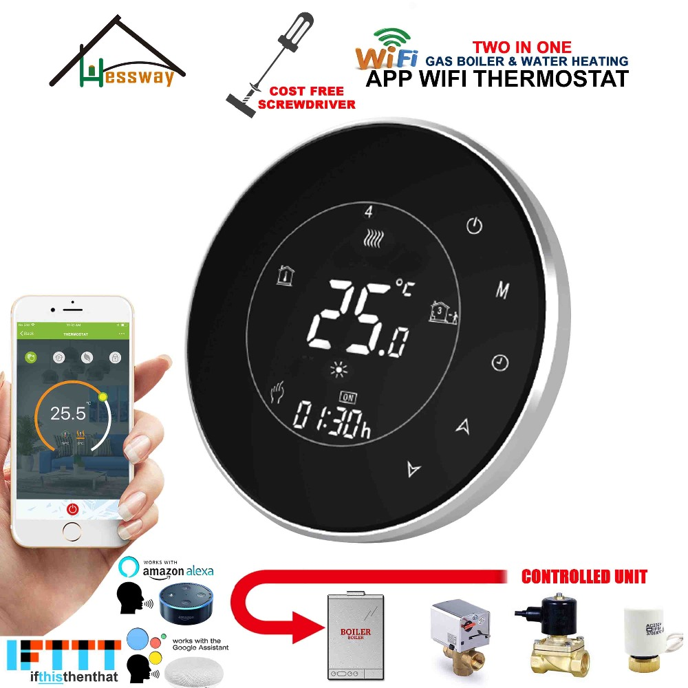 EU 3A Round wireless boiler thermostat WIFI Controller actuator dry contac Passive connection for voice interaction