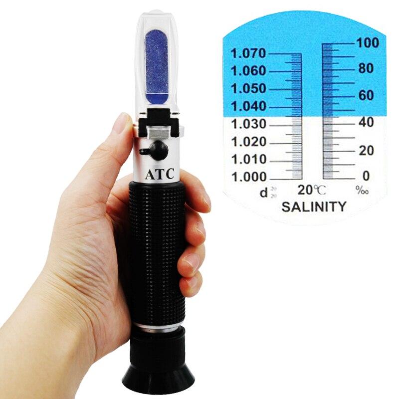 Nouvelle Arrivée de poche Réfractomètre de Salinité 0-10% Aquarium D'eau Sel Hydromètre mesure avec ATC 20%