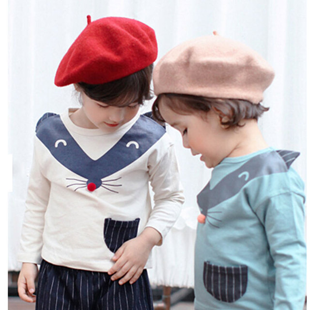 Boina de invierno para niños boina roja de lana negra bonita gorra boina para  niñas sombrero f1da61c76d7
