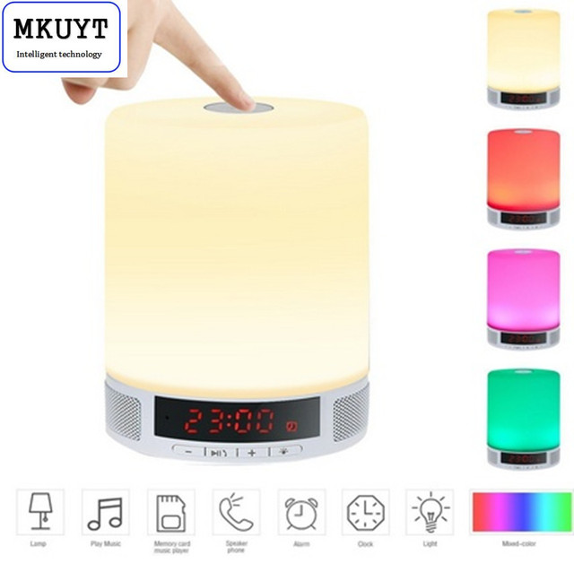 All-in-1 Portable Wireless LED Table Lamp Speakers  Alarm Clock Hands-Free Speakerphone with Mic Support TF Card for Smartphone
