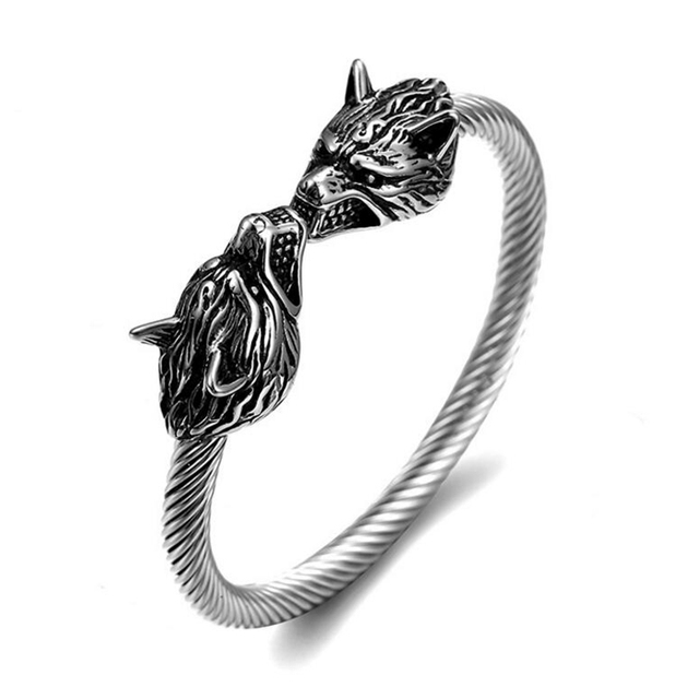 New Fashion Stainless Steel Wire Cable Chain Wolf Bracelet Men Punk ...